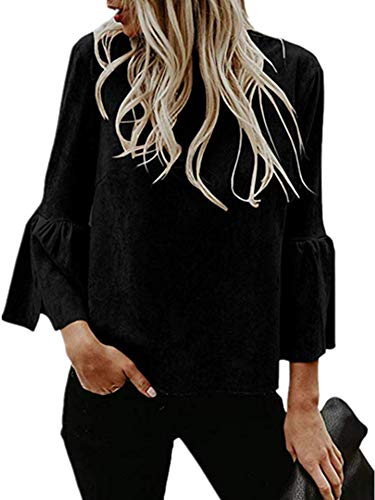 Bigyonger Womens Blouses Flare Bell 3/4 Sleeves Faux Suede Tunic Shirt Tops (Black, Small) ()