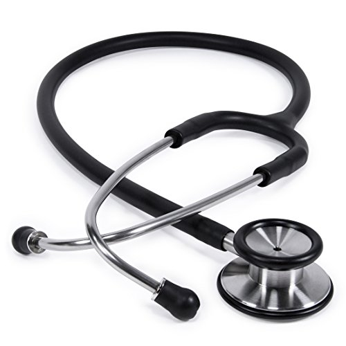 Clinical Grade Dual-Head Stethoscope by GreaterGoods. Classic Lightweight Design for The Medical Professional (Black)