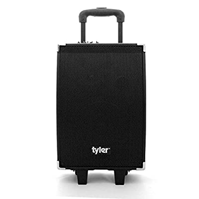 Tyler Tailgate Portable Wireless Bluetooth Speaker PA System TWS404-BK with Microphone Input, Built-in Amplifier + Equalizer, Guitar Jack Input, USB Charge Port, and Wheels & Handle for Transport