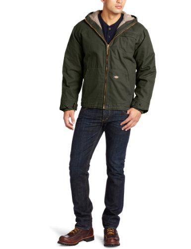 Dickies Men's Big-Tall Sanded Sherpa Lined Hooded Jacket, Black Olive, Large ()