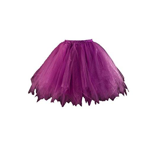 [Honeystore Women's Short Petticoat Ballet Bubble Dance Tutu Skirts Plum] (Fat Lady Halloween Costumes)