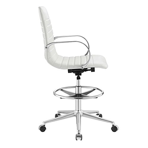 Modway EEI-2863-WHI Groove Ribbed Back, Drafting Chair, White by Modway (Image #3)