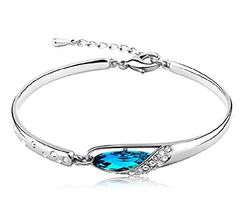 Fashion Womens 925 Sterling Silver Crystal Bracelet Bangle