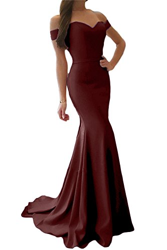 SDRESS Women's Cap Sleeve Sweetheart Sweep Train Mermaid Prom Homecoming Dress Burgundy Size 2