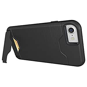 iPhone 8 Wallet Case, iPhone 8 Hybrid Case, Dual Layer Shockproof Hybrid Metallic Case Hard Shell Card Slot Cover with Flip-out Kickstand for 4.7'' iPhone 8