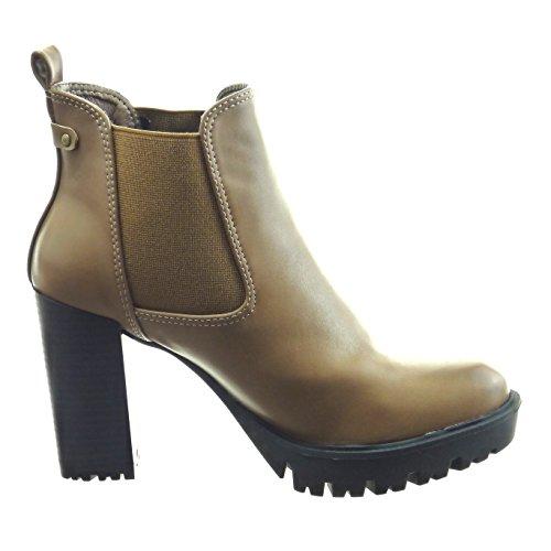 Sopily - Scarpe da Moda Stivaletti - Scarponcini chelsea boots zeppe alla caviglia donna Tacco a blocco tacco alto 9 CM - Beige