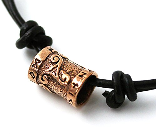 Choker Surf Surfer Necklace Bronze Celtic Knot Triskelion Runes Norse Bead Pendant Black Leather Cord