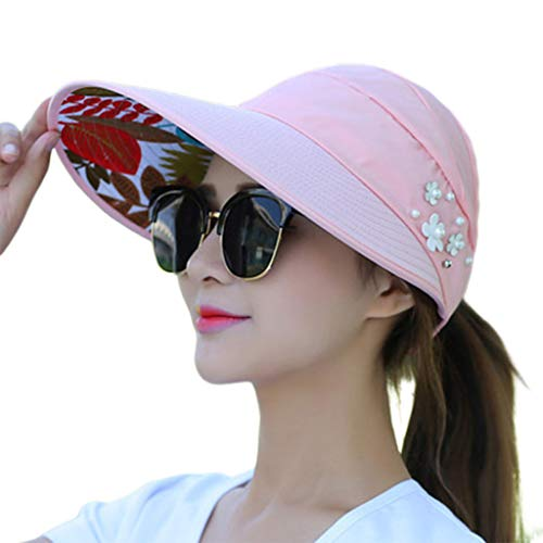 (cici store Women Summer Sunshade Ponytail Open Top Hat,Wide Brim Visor Hat Foldable Adjustable Fishing Beach Cap(Pink))