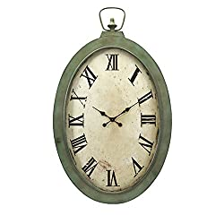 CC Home Furnishings 41 Large Antique Finish Green and Off White Roman Numeral Wall Clock