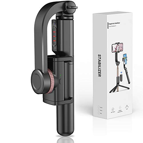 Gimbal Stabilizer for Smartphone with Extendable Bluetooth Selfie Stick and Tripod, 1-Axis Multifunction Remote 360…