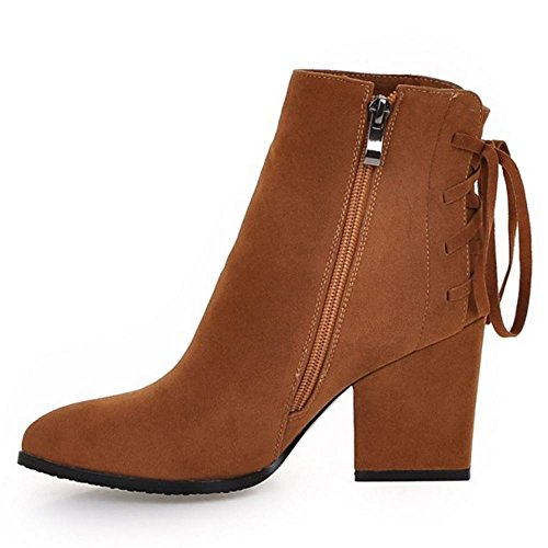 KemeKiss Zipper Strap Back Vintage Boots Block with High Brown Women Heel rEqA6rO