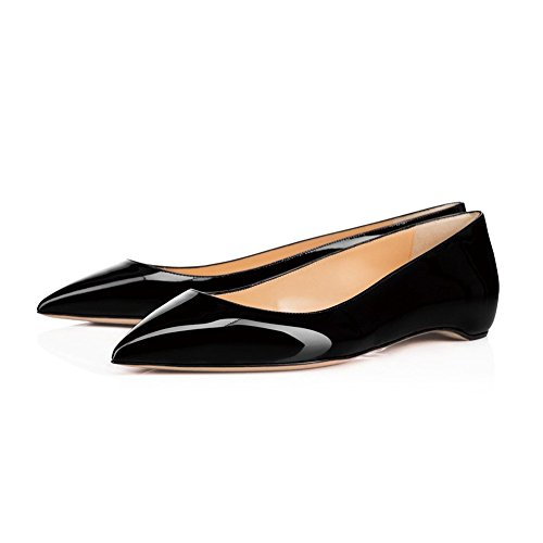 Low Classic Black On Shoes Ballet Flat Patent for Heel Leather Pointed Toe Slip UMEXI Women znwZdaqga