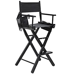 Yaheetech Professional Makeup Artist Director Chair Wood Foldable Black