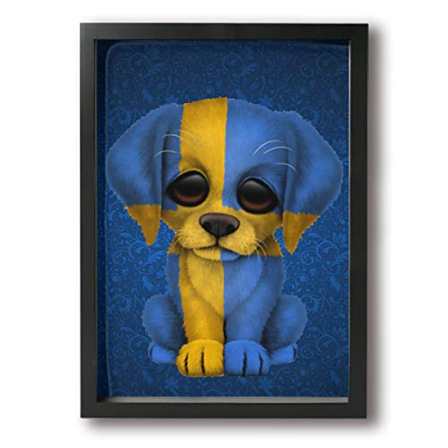 Arnold Glenn Canvas Wall Art Patriotic Swedish Flag Puppy Dog Canvas Print for Home Decor 9.4x13inch -