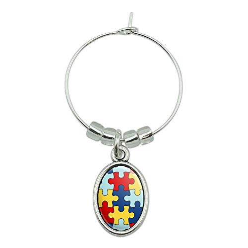 Autism Awareness Diversity Puzzle Pieces Wine Glass Oval Charm Drink Marker ()
