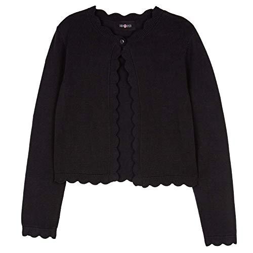 Amy Byer Girls' Scalloped Cardigan Sweater, Midnight Black, M