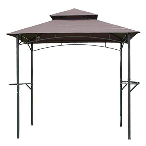Gazebos for Patios 8'x 5'BBQ Grill Gazebo Outdoor Gazebo Patio Gazebo Shelter for Outdoor Living Shelter Tent Double Tier Soft Top Canopy and Steel Frame with Bar Counters