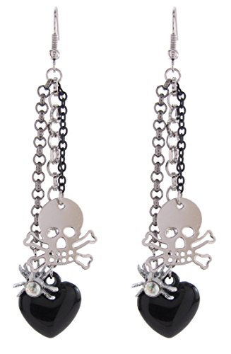 DaisyJewel Halloween Tarantula Love Skull Dangle Earrings by DaisyJewel