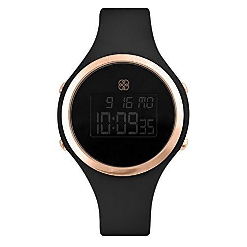 Daisy Fuentes Digital reloj de pulsera para mujer, banda de silicona, negro & oro rosa cara: Amazon.es: Relojes