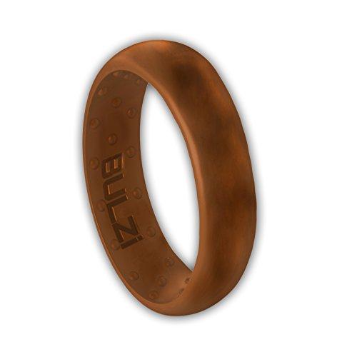BULZi - Massaging Comfort Fit Silicone Wedding Ring - #1 Most Comfortable Men's Women's Wedding Band - Comfort Flexible Work Safety Design (Teak 6mm, Size 8 - (6mm Width Band))