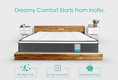 Inofia Sleeping 8 inch Hybrid Comfort Eurotop Innerspring Mattress- Plush Yet Supportive-Pressure Relief (Queen)