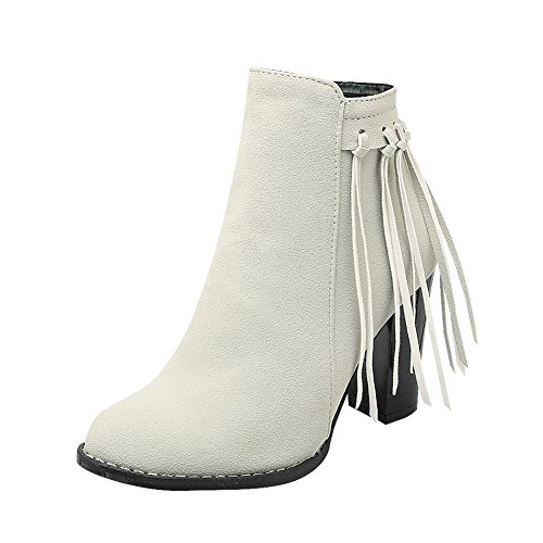 Mee Shoes Womens Sexy High-heel Nubuck Tassels Ankle-high Boots Off-White