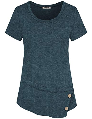 Layered Crewneck T-shirt - Hibelle Women Tops Short Sleeve, Summer Ladies T Shirts Plain Crewneck Casual Aline Layered Assymetrical Hem Tunic Blouses Button Trim Polyester Lightweight Clothing Green Medium