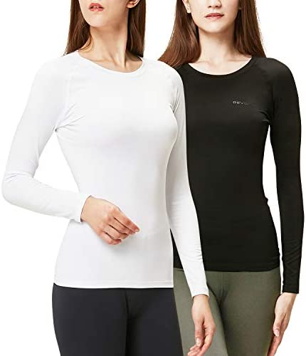 DEVOPS Women's 2 Pack Thermal Long Sleeve Shirts Compression Baselayer Tops