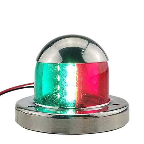 (Jeemitery Boat Navigation Lights- 12V Stainless Steel Marine Yacht Lights LED Bow Navigation Lights Pontoons Sailing Signal Lights One Pair (Red & Green))