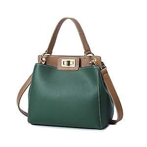 Aszhdfihas Carteras y Bolsos de Hombro para Mujer. Hebilla Retro Simple Color de Golpe Kelly Bag Cubo PU Bolso de Hombro Messenger Bag, Verde Hombro de ...
