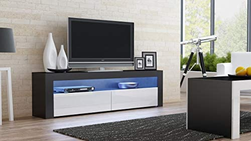 Amazon Com Domadeco Milano157 Modern Tv Stand Contemporary Tv Units Tv Media Stands Color Black White Home Kitchen