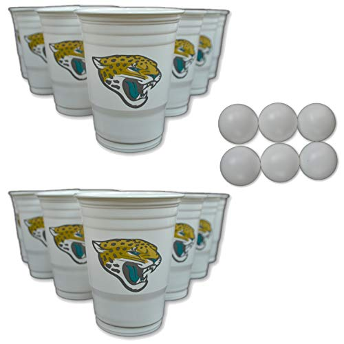 NFL Fan Shop Beer Pong Set. Rep Your Favorite Team with the Classic Game of Beer Pong at home or at the Tailgate Party - Comes with 22 Cups and 6 Ping Pong Balls (Jacksonville Jaguars)