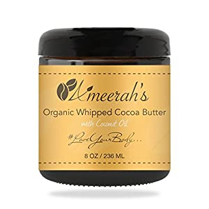 Organic Whipped Cocoa Body Butter & Coconut Oil | Body Moisturizer Cream - Unscented - 8 ozs