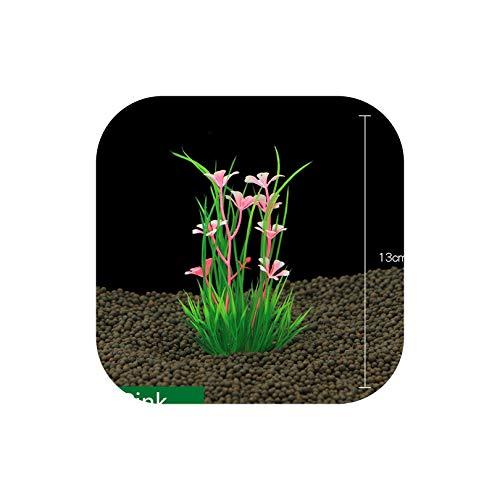 13Cm Underwater Artificial Aquatic Plant Ornaments for Aquarium Fish Tank Green Water Grass Landscape Decoration,Pink,L ()