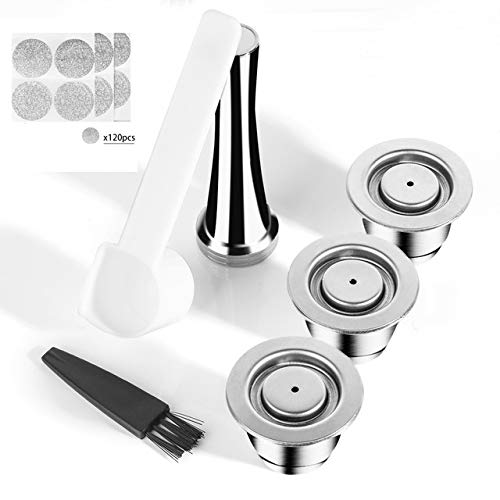 MG Coffee Stainless Steel Refillable Capsules Reusable Pod fits Nespresso Brewers (Not ALL) (3 Pods,120 Lids,1 Tamper)