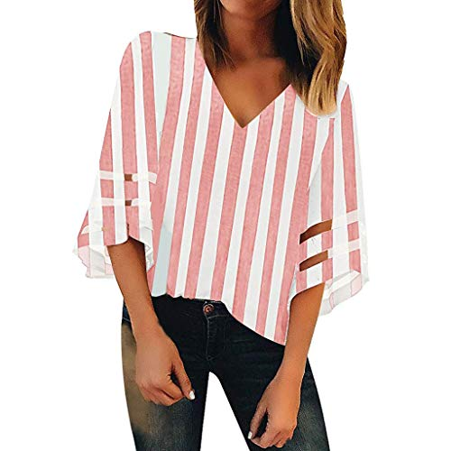 GOVOW Women V Neck Mesh Panel Blouse Dress 3/4 Bell Sleeve Casual Chiffon Tee Lace Patchwork Striped Off Shoulder Loose Top Shirt