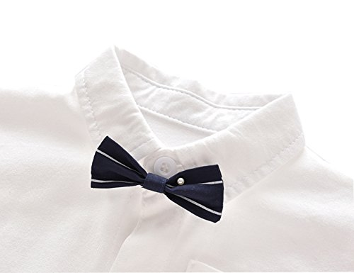 Ding-dong Baby Boy Summer Cotton Gentleman Short Sleeve Bowtie Romper+Striped Suspenders Shorts Outfit Set£¨3-6M£ by Ding Dong (Image #4)