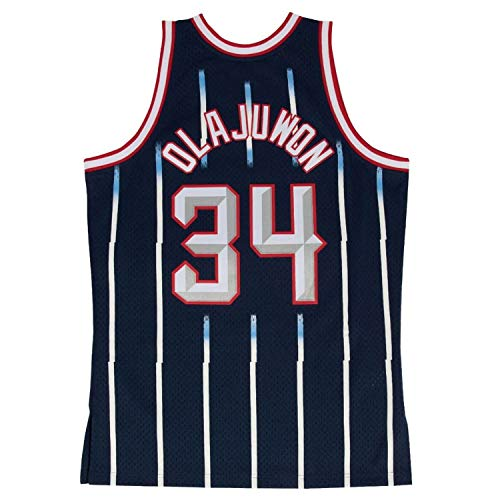 Hakeem Olajuwon Houston Rockets Mitchell and Ness Men's Navy Throwback Jesey Large
