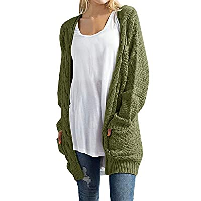 Imily Bela Women's Boho Long Sleeve Open Front Chunky Warm Cardigans Pointelle Pullover Sweater Blouses at Women's Clothing store