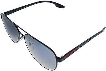 Prada Linea Rossa PS 54TS 1AB5Z1 Black Metal Pilot Sunglasses Grey Polarized Lens