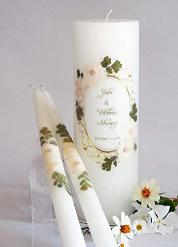 Traditional Unity Candle - Vintage White Hydrangea Wedding Unity Candles