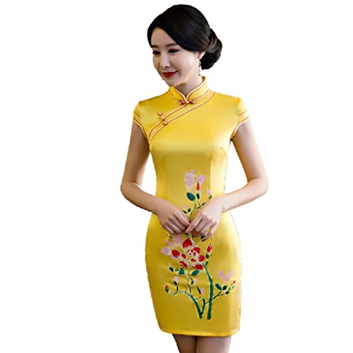 Shanghai Story Faux Silk Qipao Chinese Short Cheongsam Dress Oriental Dresses