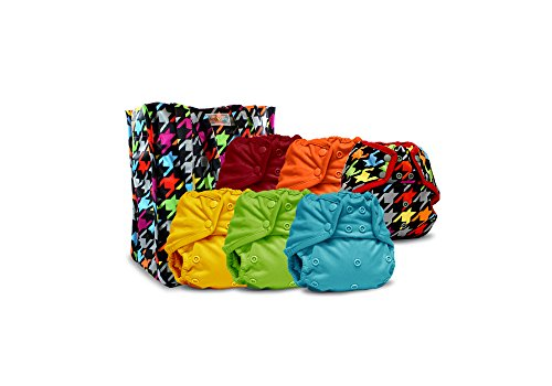Rumparooz One Size Cloth Diaper Covers, Snap -6 Pack- Plus Exclusive Reusable Kanga Care Tote Bag- Invader