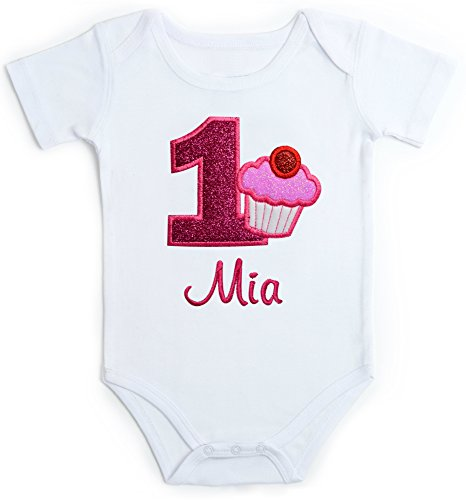 Embroidered Glitter Cupcake First Birthday Onesie Bodysuit For Baby Girl With Your Custom Name (18 Months Short Sleeve) -