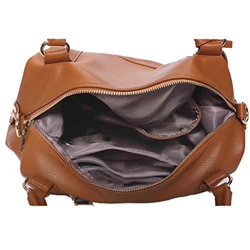 Bags Messenger Vintage Business tout Bandoulière Bag Sac NDHSH En Cuir Grande Fourre Business Handle Souple Sac Main Femmes à Capacité En Sacs Brown 5Tw6qtH