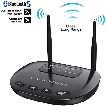 Giveet Long Range Bluetooth Latest V5.0 Transmitter Receiver Pass-Through 3 in 1, 164Ft Wireless Audio Adapter, aptX HD Low Latency, Dual Link, Optical RCA AUX 3.5mm for TV PC Home Stereo