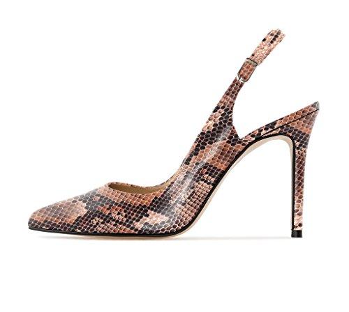 EDEFS Femme Escarpins Bouts Pointus Classiques Chaussures à Brides à Boucle à l'arrière Python-brown JWadwn8a