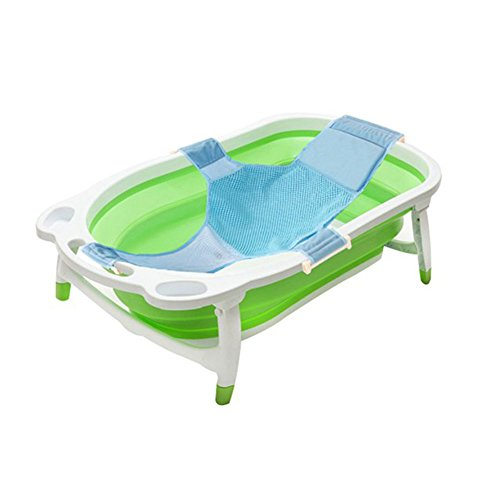 Kidsmile Baby Portable Collapsible Bathing Tub with Non-Slip Mat, Foldable Shower Basin with Infant Sling, Comfort Folding Baby Bathtub, Deluxe Newborn To Toddler Tub, Green by Kidsmile