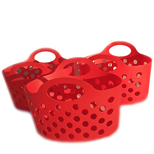 Colorful Plastic Basket with Handles Small Soft Carry Totes for Organizing Pantry Organization and Storage Set of 3 Red Colored Bendable & Stackable for Shelves Kitchen Grocery Fruit and Toy Organizer]()