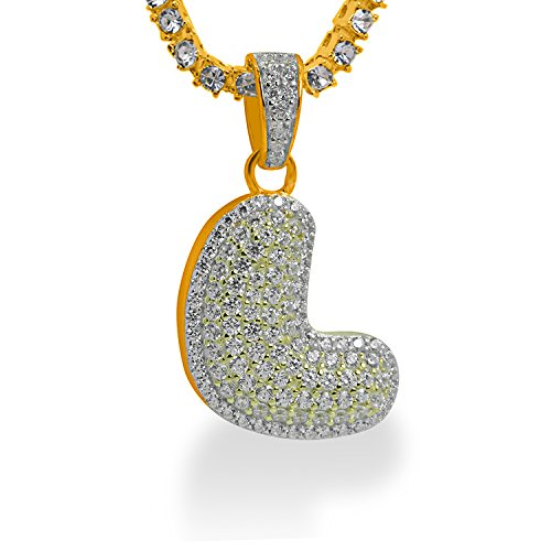 925 Sterling Silver Yellow Gold-Tone Iced Out Hip Hop Swag Bling Bubble Letter L Pendant with 20'' 1 Row Chain by iRockBling